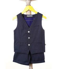Mi Dulce An'ya Sleeveless Organic Cotton Party Wear Waistcoat And Shorts Set - Blue