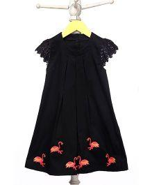 Mi Dulce An'ya Organic Dress With Flamingos Embroidery - Black