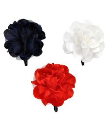 Miss Diva Set Of 3 Single Flower Tic Tacs - White & Navy & Red