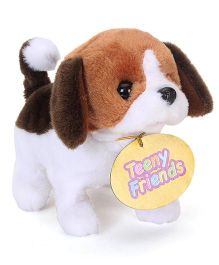 Comdaq Movers & Shakers Baby Beagle Soft Toy White Brown - 14 cm