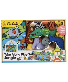 K's Kids Take Along Play Set Jungle Playmat With Toy Animals - 9 Pieces
