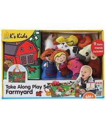 K's Kids Take Along Play Set Farmyard Playmat With Toy Animals - 9 Pieces