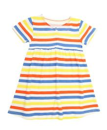 Weedots Short Sleeves Stripe Frock - Multicolour