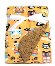 Milonee All In The Road Vehicle Print Baby Blanket - Yellow