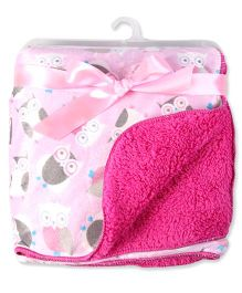 Milonee Cute Owley Soft Baby Blanket - Pink