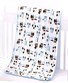 Milonee Car & Helicopter Print Baby Blanket - White & Blue