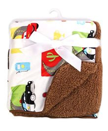 Milonee Mcqueen Cars Printed Baby Blanket - White & Multicolour