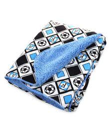 Milonee Lets Goal Football Print Baby Blanket - White Black & Blue