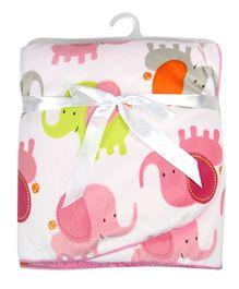 Milonee Elephant Kingdom Baby Blanket - White & Soft Pink