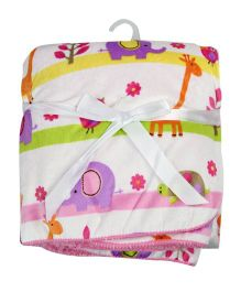 Milonee Fantasy Animal Park Baby Blanket - White & Multicolour
