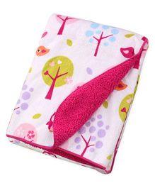 Milonee Owl & Tree Print Baby Blanket - White & Multicolour
