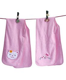 D'chica Set Of 2 Hey Little Kitty Burp Cloths - Pink
