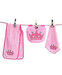 D'chica Princess Set Of 3 Burp Cloth, Bib & Wash Cloth - Pink