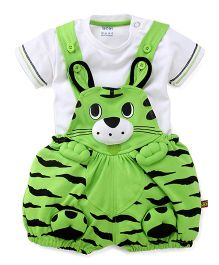 Wow Dungaree With Half Sleeves T-Shirt Cat Design - Green White