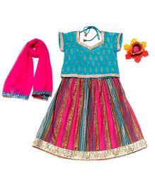 Dress My Angel Khadi Lehanga & Choli Set With Dupatta - Blue & Pink