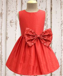A.T.U.N. Shimmer Bow Dress - Coral Red
