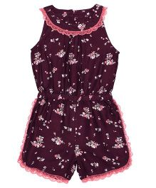 Shoppertree Sleeveless Floral Print Jumpsuit - Maroon