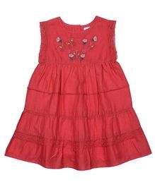 ShopperTree Sleeveless Embroidered Frock - Red