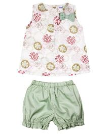 Shoppertree Sleeveless Floral Print Top And Bloomer Set - Multicolor