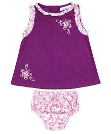 Shoppertree Sleeveless Embroidered Top And Bloomer Set - Purple