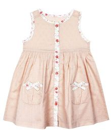 Shoppertree Sleeveless Dobby Dress - Beige