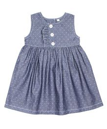Shoppertree Sleeveless Dobby Dress - Blue