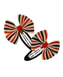 Angel Closet Beautiful Bow Clips Red Cream Black - Pair Of 2