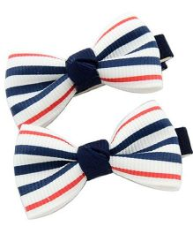 Angel Closet Striped Bow Hair Clips Multicolour - Pair Of 2