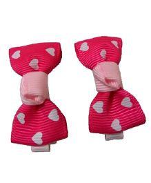 Angel Closet Heart Print Bow Hair Clips Pink - Pair Of 2