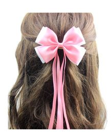 Angel Closet Satin Ribbon Bow Clip - Pink