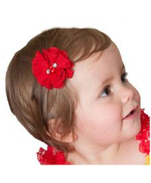 Angel Closet Chiffon Flower Hair Clip - Red