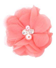 Angel Closet Chiffon Flower Hair Clip - Coral