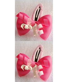 Angel Closet Bow Clips with Ribbons Pink  - Pair Of 2