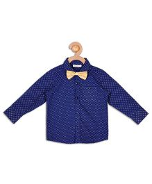Campana Full Sleeves Shirt With Bow Tie - Navy