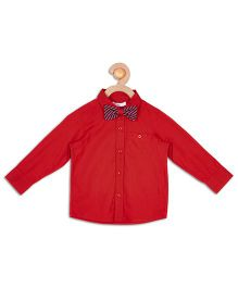 Campana Full Sleeves Party Wear Shirt With Bow Tie - Red