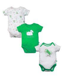 FS Mini Klub Cap Sleeves Printed Onesies Set Of 3 - Green & White