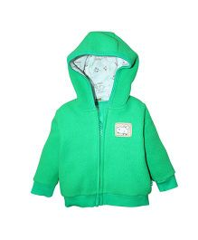 FS Mini Klub Full Sleeves Hooded Fleece Jacket - Green