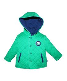 FS Mini Klub Full Sleeves Quilted Jacket With Hood - Green
