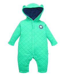 FS Mini Klub Full Sleeves Quilted Romper With Hood - Green