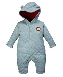 FS Mini Klub Full Sleeves Quilted Romper With Hood - Grey