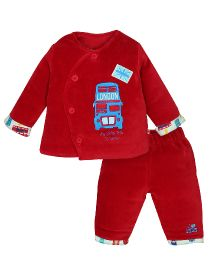 FS Mini Klub Full Sleeves Shirt And Bottom Set Bus Print - Red