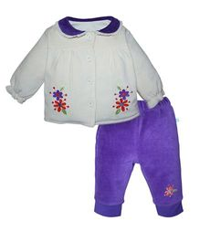 FS Mini Klub Full Sleeves Top And Bottom Set - White And Purple