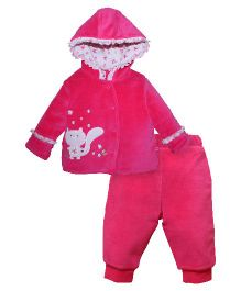 FS Mini Klub Full Sleeves Hooded Jacket With Bottoms Kitty Design - Pink