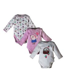 FS Mini Klub Full Sleeves Onesie Multiprint Set Of 3 - White Pink