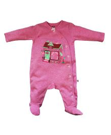 FS Mini Klub Full Sleeves Footed Sleepsuit Cottage Print - Pink