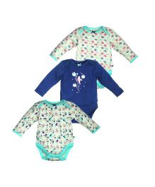 FS Mini Klub Full Sleeves Onesies Pack of 3 - White Blue