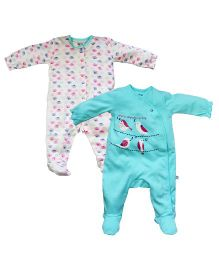 FS Mini Klub Full Sleeves Sleepsuits Pack of 2 - Sea Green White