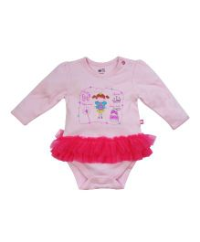 FS Mini Klub Full Sleeves Printed Onesie With Ruffles Pattern - Pink
