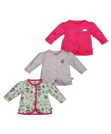 FS Mini Klub Full Sleeves Solid Color And Printed Vests Pink & Cream - Pack of 3