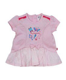 FS Mini Klub Short Sleeves Top Bow Applique - Pink